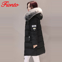 2019 New Women Winter Down Jackets Large Fur Hooded Female Winter Coats Cotton Padded Parka Letter jaqueta feminina inverno A898