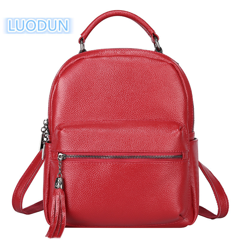 LUODUN New Genuine Leather female bag the first layer of leather tassel shoulder bag British fashion backpack school bag korean version of the first layer of leather vertical section square shoulder messenger bag in the bag fashion casual tassel lea