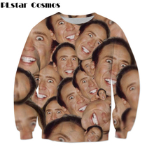 PLstar Cosmos Free shipping 2017 New Fashion Sweatshirt Nicolas cage Crazy funny Stare at you print 3d Men/Women casual Pullover