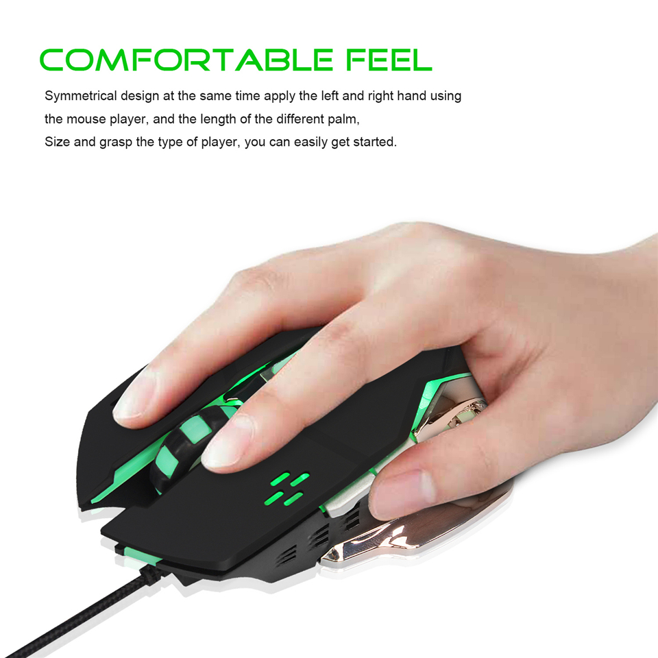 Gaming USB Mouse Macro Definition 4 Gear Adjustable 3200 DPI Aggravated Colorful Flash 1.5m Audible Mute Mouse For Desktop Game