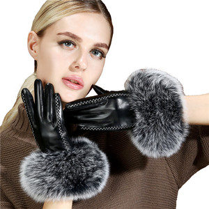 Image 5 - Bayan lüks tilki kürk koyun derisi eldiven kış hakiki deri tam parmak termal sıcak açık eldiven kadınlar dokunmatik ekran siyah