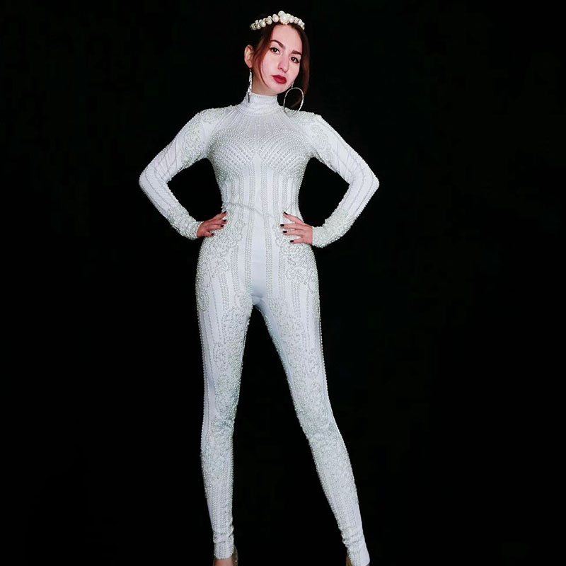 Jazz Dance Costumes White Pearls Stretch Bodysuit Stage Wear Jumpsuit Women Nightclub Party Female Singer Celebrate Outfit DT945