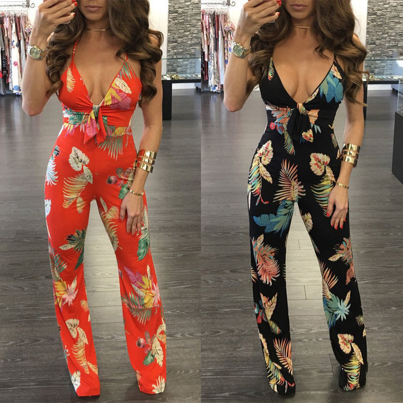 Hot Selling Women Sexy Jumpsuit Sleeveless Summer Playsuit Floral Printing Hot Summer Bodycon Jumpsuit High Waist Romper