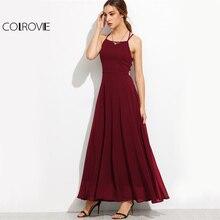 Lace Up Back Strappy Cami Boho Draped Long Dress