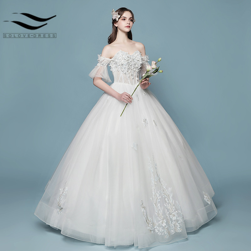 New Style Wedding Dress: 2018 New Style Boat Neck Beading Handwork Flowers Ball
