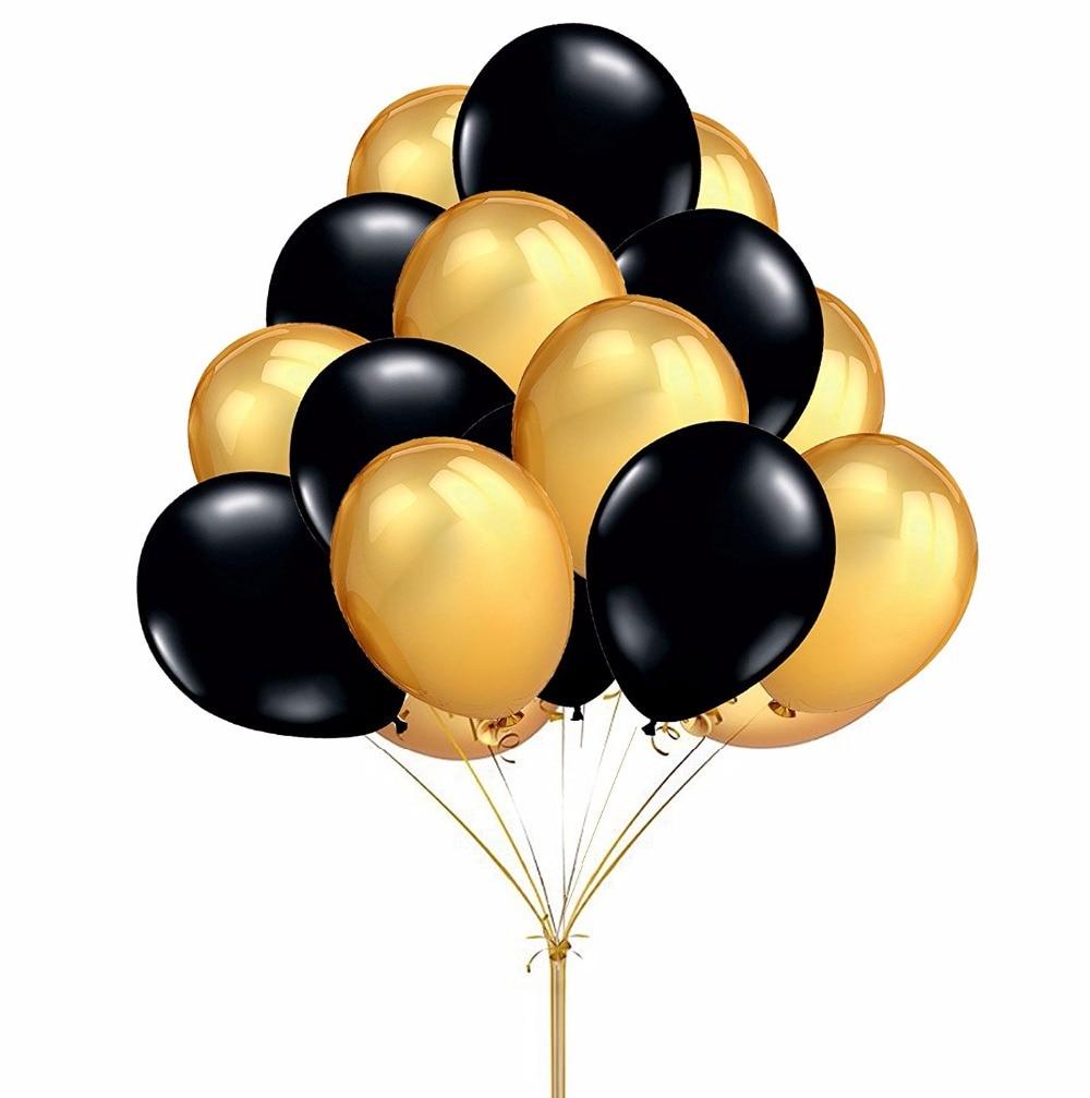 50pcs lot 10inch gold black inflatable
