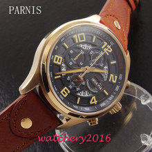 New 43mm Parnis black dial sapphire glass date day rose golden plated case quartz movement Men's Watch