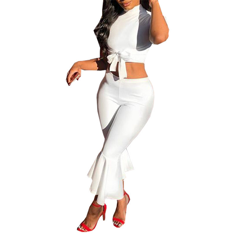 864addba56c5 2019 White Two Piece Set Women 2018 Summer Outfits Short Sleeve Bow ...