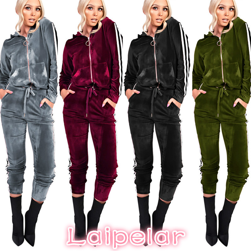 Laipelar Strip Spliced Velvet Tracksuit Winter Two Piece Set Top and Pants Full Sleeve Casual Women Sets Velour Sweatsuit D35BA 2