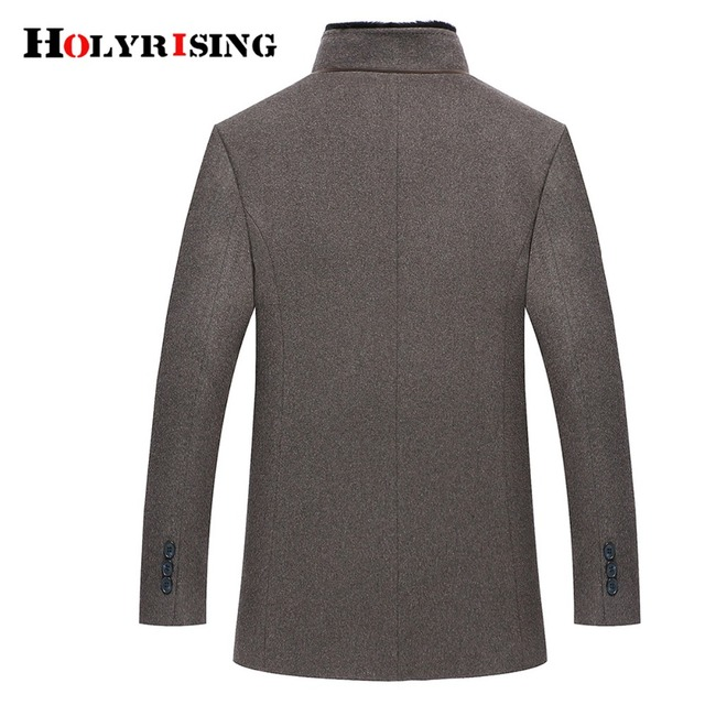 Holyrising Men Wool Coats Casaco Masculino Inverno Single Button Mens Overcoat Windproof Men Cloths Slim Coats For Men 18519-5 3