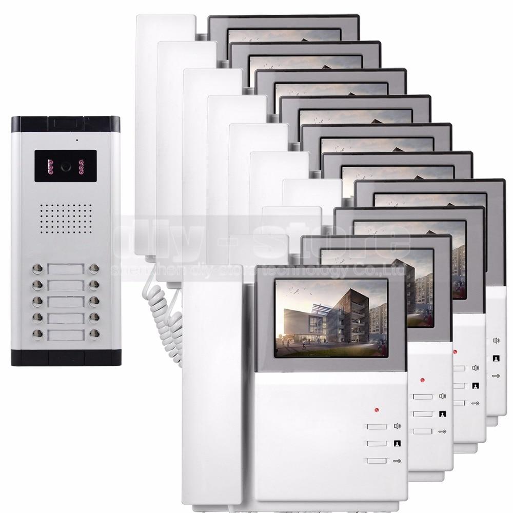DIYSECUR 4.3 HD Monitor Apartment Video Door Phone Video Intercom Doorbell System 700 TVLine Camera Touch Key for 10 FamiliesDIYSECUR 4.3 HD Monitor Apartment Video Door Phone Video Intercom Doorbell System 700 TVLine Camera Touch Key for 10 Families