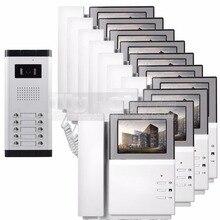 """DIYSECUR 4.3 """"Monitor HD Apartamento Video de La Puerta Sistema de Teléfono Video Del Timbre Del Intercomunicador 700 TVLine Cámara Tecla Táctil para 10 Familias"""