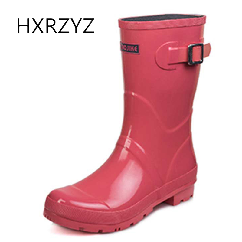 HXRZYZ women rain boots buckle low heel rubber boots spring/autumn ladies new fashion slip-resistant waterproof shoes for woman hellozebra women rain boots waterproof fashion rubber elastic band solid color raining day shoes low heel 2017 autumn new href