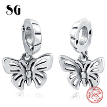 Silver Galaxy Fits Original pandora Bracelets Charms Beads  Accessories 100% 925 Jewelry for Women Animal Butterfly Set