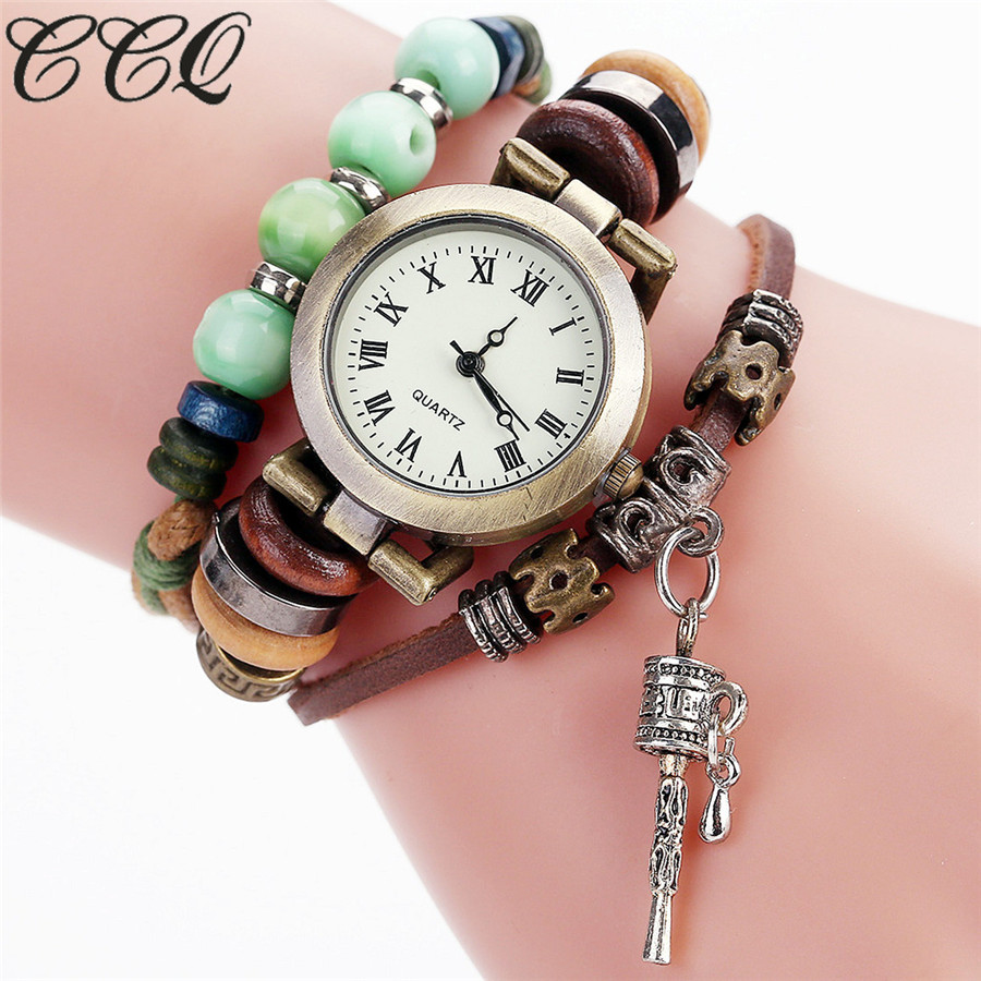 CCQ Brand Vintage Women Beaded Bell Bracelet Watch Luxury Leather Women Wrist Watch Quartz Watches