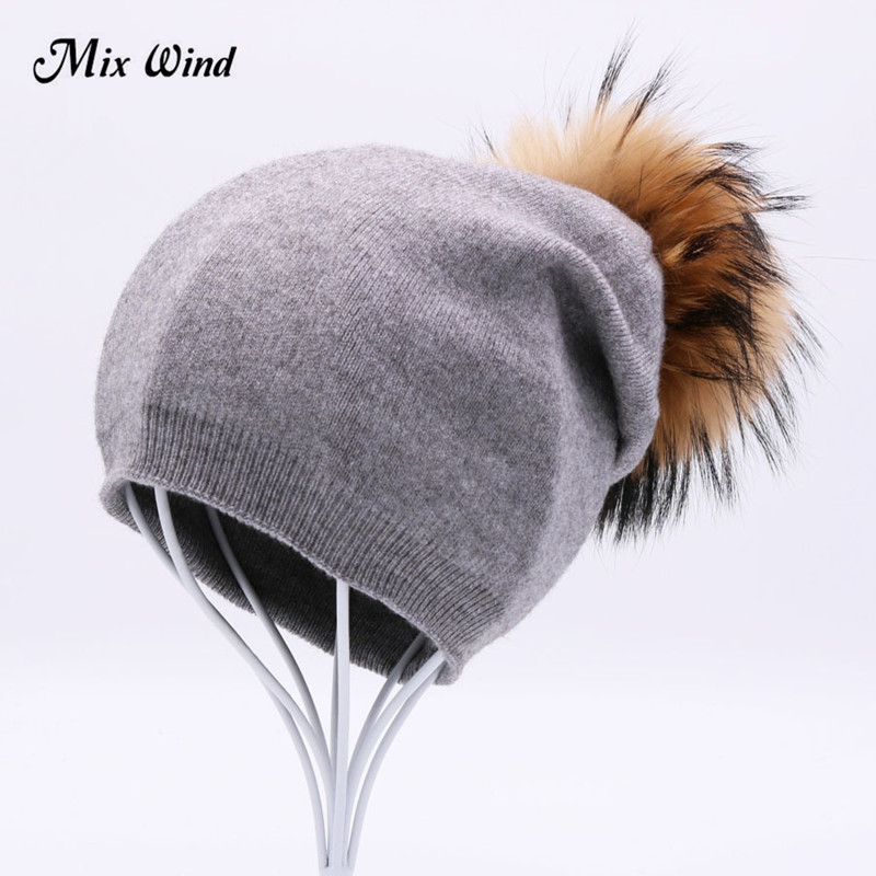 Mix Wind  Raccoon Wool Fox Fur Pom Poms Hat Female Women Warm Knitted Casual High Quality Vogue Winter Hats Skullies Beanies skullies beanies newborn cute winter kids baby hats knitted pom pom hat wool hemming hat drop shipping high quality s30