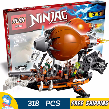 318pcs Ninja Raid Zeppelin Zane's Flyer Airship Doubloon 10448 Figure Building Blocks Children Toys Compatible With 1