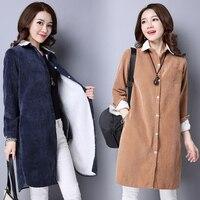 Women Autumn Winter Warm Blouses Tops Blusa Camisa Femininas Cotton Long Sleeve Thick Velvet Corduroy Shirt