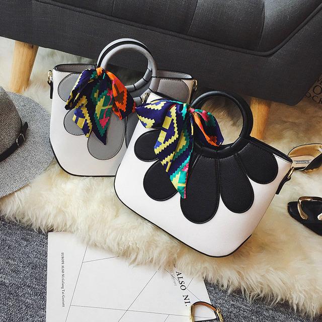 2016 pétalas desembolsar bolsa color block bolsa das mulheres saco de ombro ocasional saco saco do mensageiro
