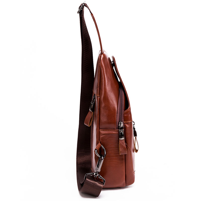 High Quality Men Vintage Genuine Leather Cowhide Travel Sling Chest Pack Back Riding Casual Messenger Single Shoulder Bag