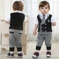 Los niños de la marca de sistemas de la ropa de traje cabritos de los sistemas traje de caballero 100% algodón ropa camisetas + pantalones + tie envío gratuito