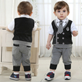brand Children's clothing sets Baby Boy's suit sets kids gentleman suit 100% cotton clothing shirts +trousers +tie freeshipping