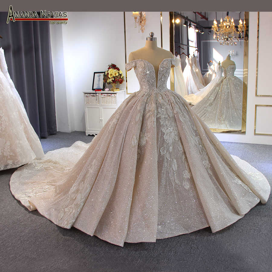 Luxury beading wedding dress Off Shoulder Long Train 2019 New bridal dress novias