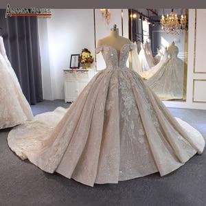 Image 1 - 럭셔리 구슬 웨딩 드레스 어깨 긴 기차 2020 새로운 신부 드레스 novias
