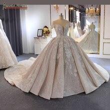 فستان زفاف فاخر مطرز بالخرز عاري الكتفين طويل ذيل 2020 فستان زفاف جديد novias