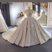 Luxury beading wedding dress Off Shoulder Long Train 2020 New bridal dress novias