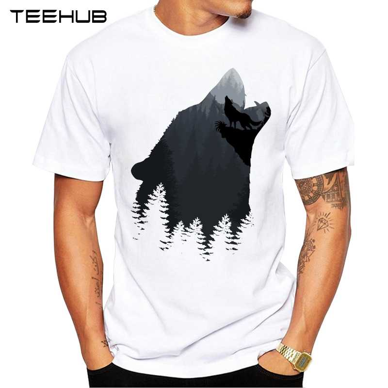 2019 TEEHUB Men's Fashion Wolf Mountain Printed T-Shirt Short Sleeve Novelty O-neck Design Tops Cool Tee