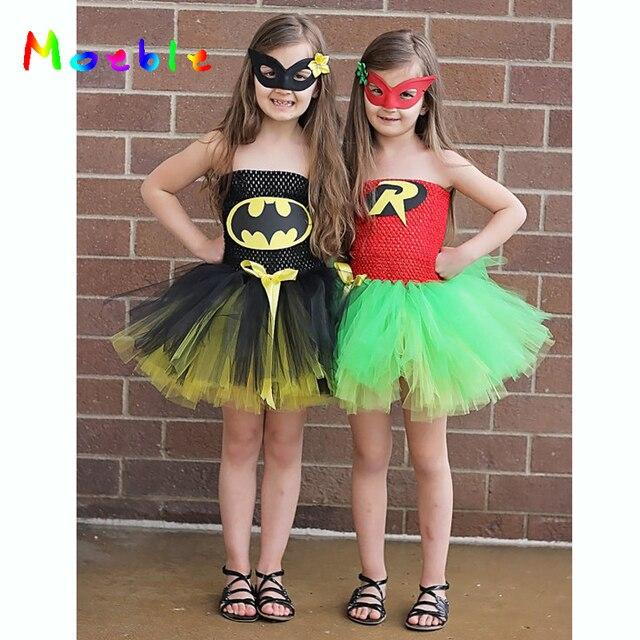 43e3a3938368f أحدث طفلة بطل السوبر توتو اللباس الأطفال فتاة عيد الميلاد زي الصيف اللباس  باتمان و روبن
