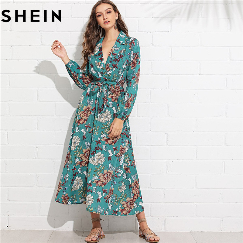 12a2c091ec SHEIN Women Boho V Neck Long Sleeve Floral Belted Maxi Dresses Spring Fall  Beach Vacation Lantern Sleeve Surplice Wrap Dress-in Dresses from Women's  ...