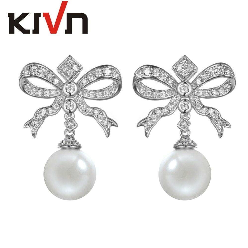 Kivn Fashion Jewelry Bow Ribbon Cz Cubic Zirconia Womens Girls Bridal  Simulate Pearl Earrings Birthday Gifts