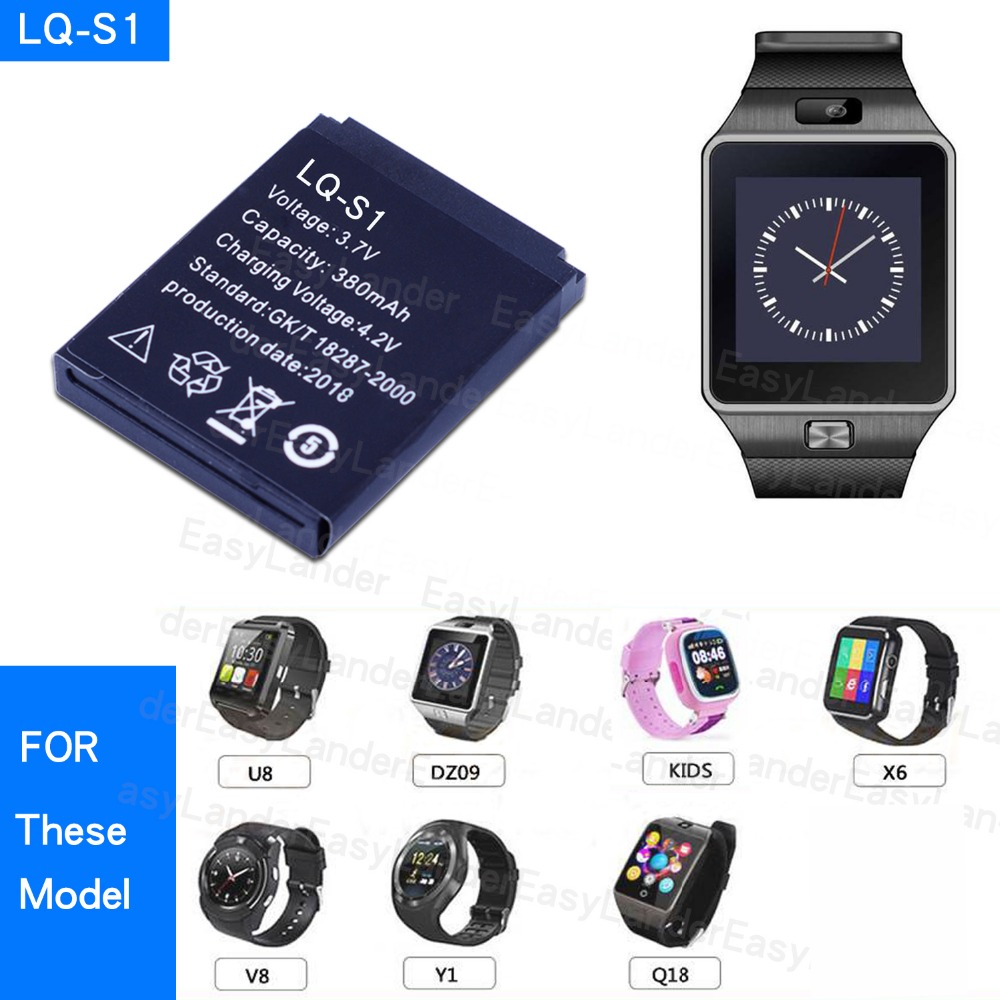 Durable Smart Watch Battery 1Pcs LQ-S1 AB-S1 3.7V 380mAh Lithium Rechargeable Battery For Smart Watch DZ09 W8 A1 T8 X6 QW09