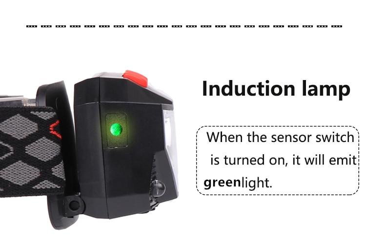 Led mini farol sensor ir usb recarregável