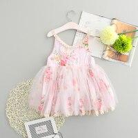Retail Sweet Girls Floral Print Tutu Lace Dress Summer Ruffles Princess Party Holiday Pink Dresses