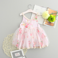 Retail Sweet Girls Floral Print Tutu Lace Dress Summer Ruffles Princess Party Holiday Pink Dresses