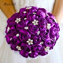 Фиолетовый Свадебный букет невесты Жемчуг Королевский Синий Атлас букет невесты трау boeket Свадебные цветы искусственный белый Кот Красный