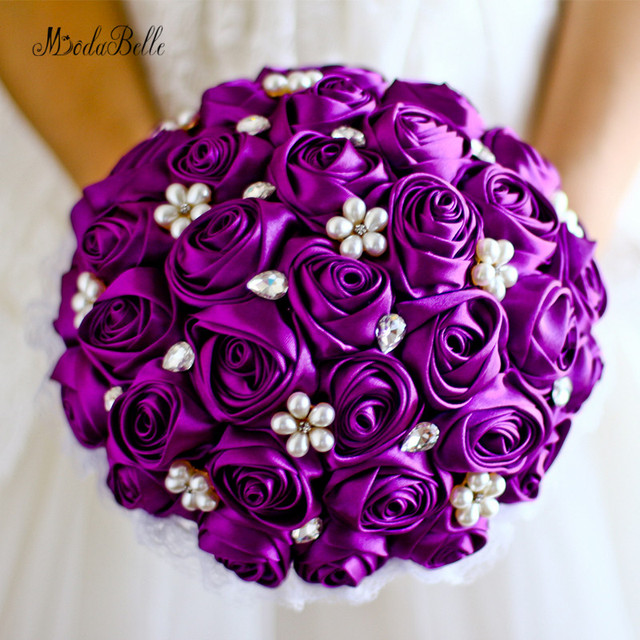 Purple And White Wedding Flower Bouquets: Purple Wedding Bride Bouquet Pearls Royal Blue Satin