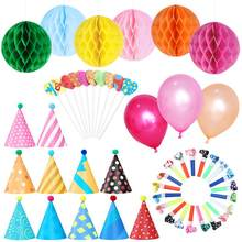 11pcs Birthday Hats with Pom Poms 20pcs Party Blowouts 6pcs Paper Flower Balls 10pcs Balloons & Heart Shaped Cake Toppers(China)