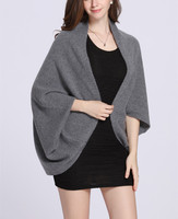 100% goat cashmere knit women fashion cloak style pashmina poncho with sleeve 36x120cm neutral color