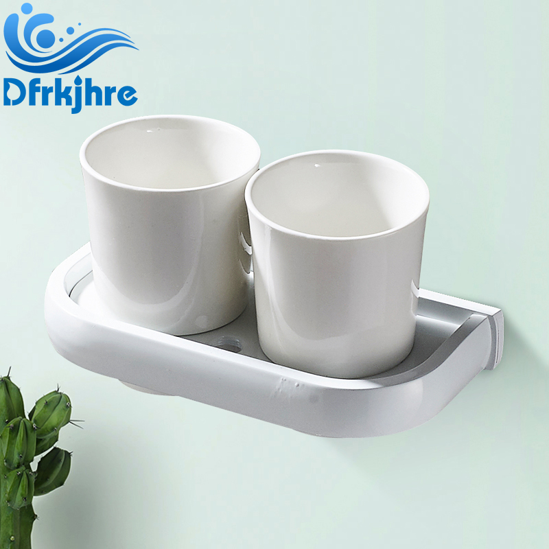 Bathroom Double Cup Holders Cup and Tumbler Holders White and Brushed Nickel Tooth Brush Holder flg5618 cup and tumbler holders wall mounted oil rubbed bronze ceramic tooth brush holder