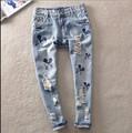 2017 весной и летом моды бисером отверстие свободные шаровары плюс размер прямые джинсы женские