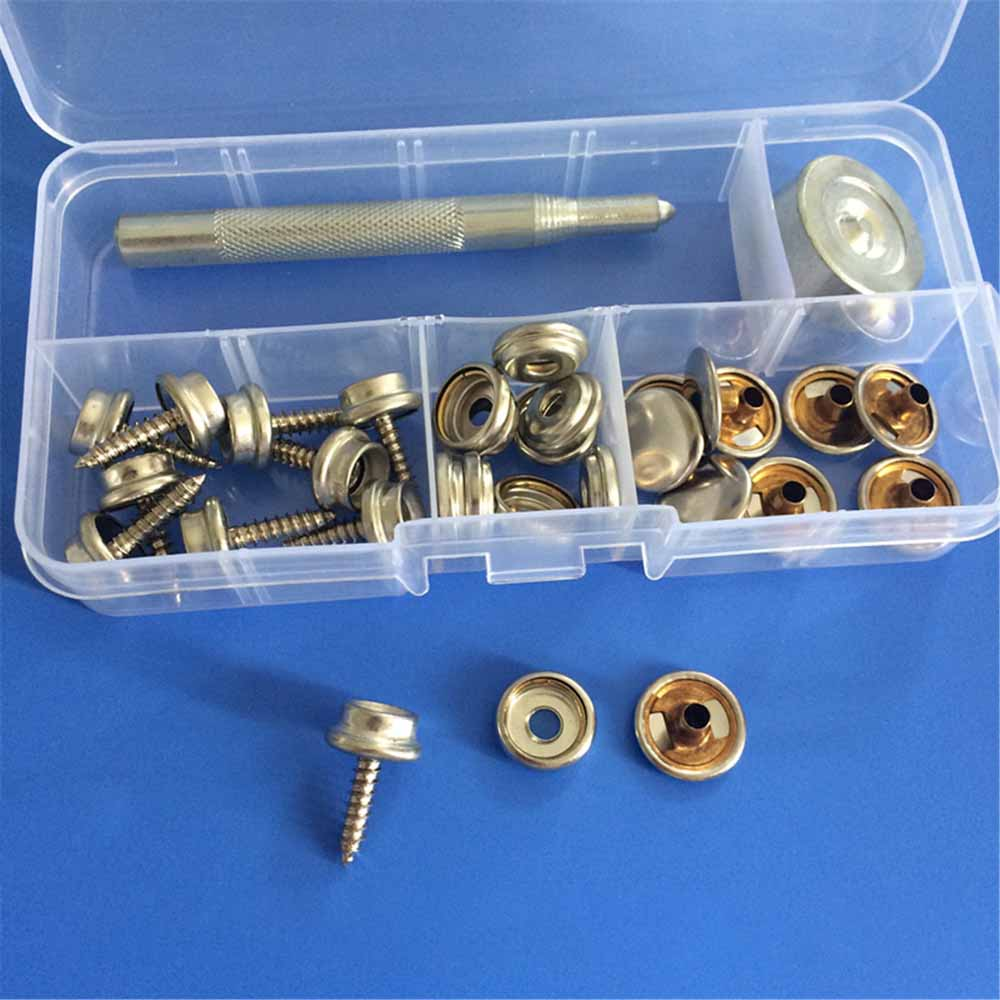 15mm Press Studs Snap Fasteners Jackets Handbag Boat Cover Belt with Fixing Tool