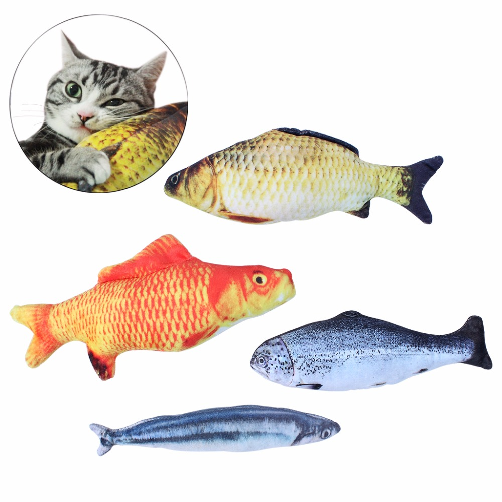 Cat Toy Set Plush Simulation Fish Shaped Interactive Pet