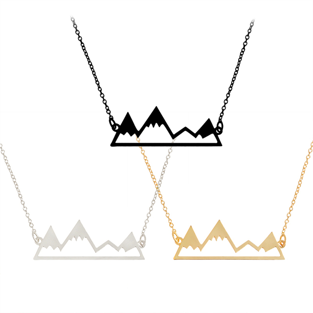 Gold/Silver Minimalist Mountain Top Pendant Snowy Mountain Necklace Hiking Outdoor Travel Jewelry Mountains Climbing Gifts