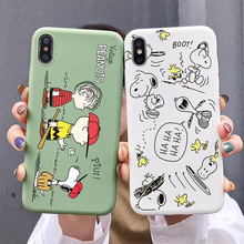 Cute japan Cartoon dog peanuts family Soft TPU candy Silicon phone Cover for iPhone X XR 7 8 Plus 6 6s XS Max capa Phone Coque