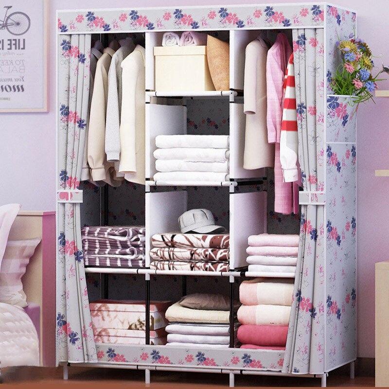 Armoire familiale en tissu Non tissé armature en acier renfort organisateur de rangement debout amovible vêtements placard meubles