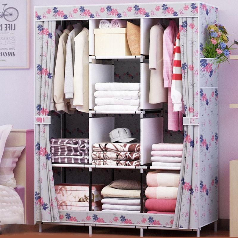 Family Wardrobe Non-woven Fabric Steel Frame Reinforcement Standing Storage Organizer Detachable Clothing Closet Furniture